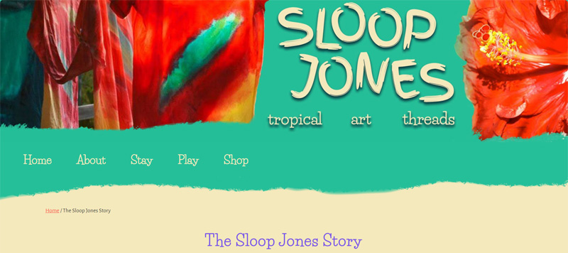 Ashley Ladlie made Sloop Jones' website